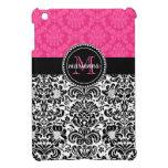 Damasco negro rosado elegante personalizado iPad mini fundas