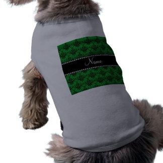 Damasco negro verde conocido personalizado camisas de mascota