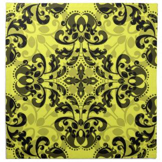 Damasco negro y amarillo elegante servilletas