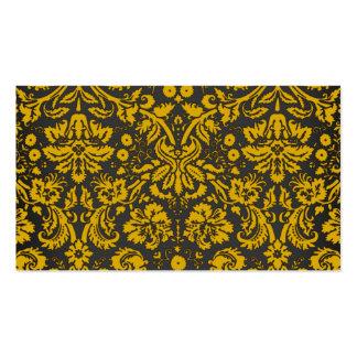 Damasco negro y amarillo tarjetas de negocios