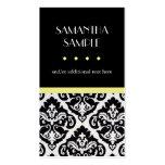 Damasco negro y blanco, amarillo plantilla de tarjeta de visita