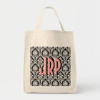Damasco negro y blanco bolsa tela para la compra