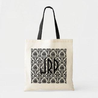 Damasco negro y blanco bolsa tela barata