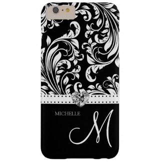Damasco negro y blanco con el corazón y el funda barely there iPhone 6 plus