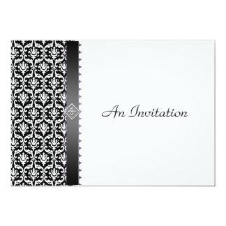 Damasco negro y blanco de la recepción nupcial de invitación 12,7 x 17,8 cm