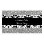 Damasco negro y blanco del brillo de plata de moda tarjeta de visita