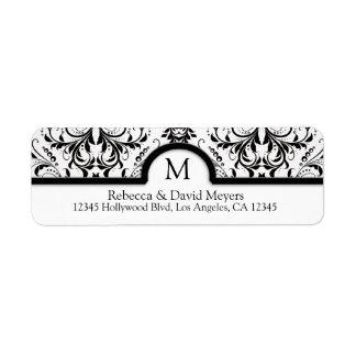Damasco negro y blanco elegante con el monograma etiquetas de remite