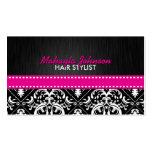 Damasco negro y blanco elegante con la cinta de la plantillas de tarjetas de visita