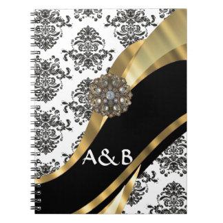 Damasco negro y blanco falsa joya libros de apuntes con espiral