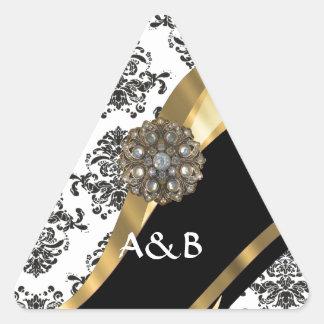 Damasco negro y blanco, falsa joya pegatina triangular