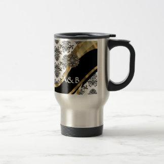Damasco negro y blanco, falsa joya tazas