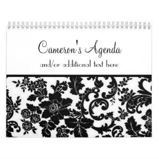 Damasco negro y blanco floral calendario