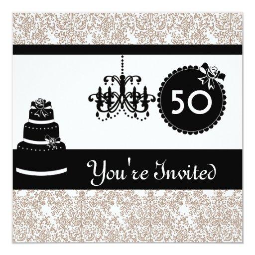 """Damasco negro y blanco I de la 50.a fiesta de Invitación 5.25"""" X 5.25"""""""