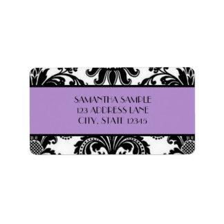 Damasco negro y blanco lavanda etiqueta de dirección