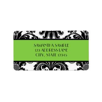 Damasco negro y blanco, lima agria etiqueta de dirección
