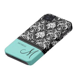 Damasco negro y blanco personalizado con el azul d iPhone 4 Case-Mate fundas
