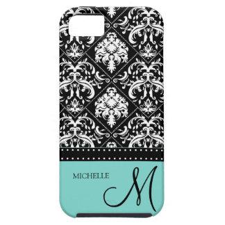 Damasco negro y blanco personalizado con el azul d iPhone 5 Case-Mate fundas