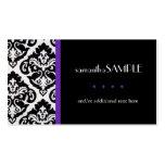 Damasco negro y blanco, púrpura plantillas de tarjetas personales