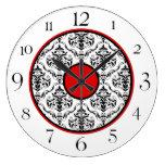 """Damasco negro y blanco rojo 10,75"""" elegante reloj"""