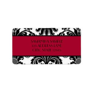 Damasco negro y blanco, rojo del escarlata etiquetas de dirección