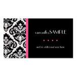 Damasco negro y blanco, rosa fuerte tarjetas personales