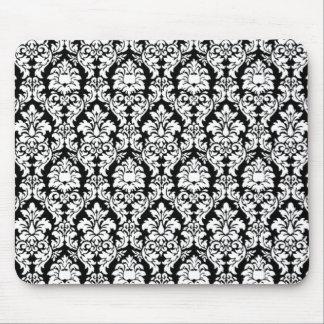 Damasco negro y blanco tapete de ratones