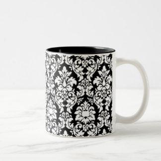 Damasco negro y blanco taza de dos tonos