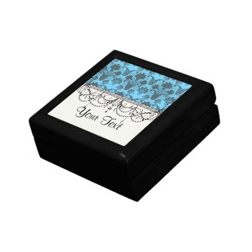damasco negro y brillante del azul de cielo cajas de regalo