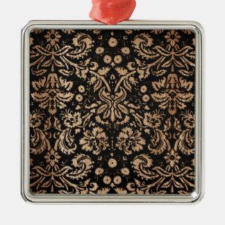 Damasco negro y de madera adorno cuadrado plateado