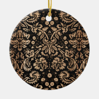 Damasco negro y de madera adorno redondo de cerámica