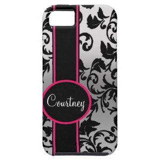 Damasco negro y de plata con negro y rosa iPhone 5 Case-Mate fundas
