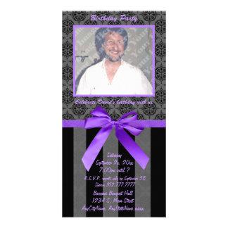 Damasco negro y gris con la cinta púrpura tarjeta personal