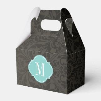 Damasco negro y gris oscuro elegante con el caja para regalos de fiestas