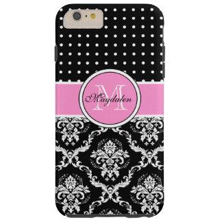 Damasco negro y modelo rosados y blancos de funda de iPhone 6 plus tough