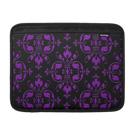 Damasco negro y púrpura de lujo funda para macbook air