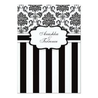 """Damasco negro y rayas blancos que casan la invitación 5"""" x 7"""""""