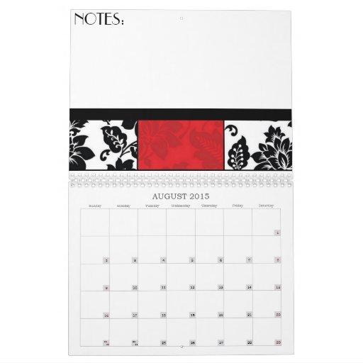 Damasco negro y rojo calendarios de pared