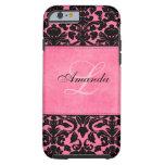 Damasco negro y rosado del monograma funda de iPhone 6 tough