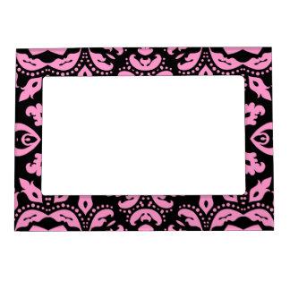 Damasco negro y rosado elegante femenino bonito marcos magneticos para fotos