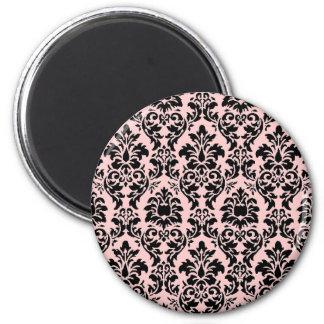 Damasco negro y rosado imán redondo 5 cm