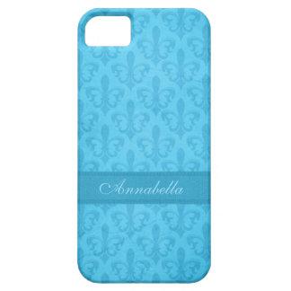 Damasco nombrado de la flor de lis caja azul del i iPhone 5 carcasas