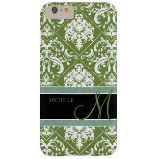 Damasco oscuro bonito del verde verde oliva y del funda de iPhone 6 plus barely there