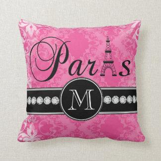 Damasco París Monogrammmed de las rosas fuertes Cojines