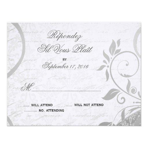 Damasco Parisienne - RSVP negro y blanco elegante Invitacion Personal