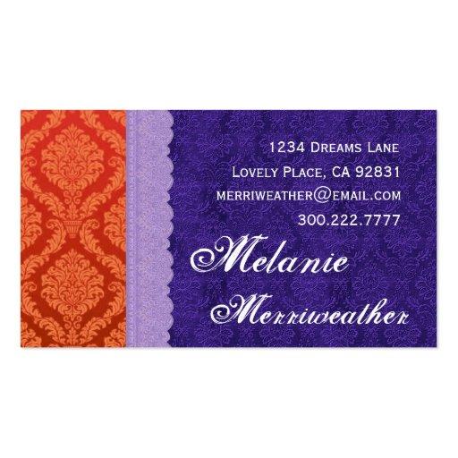 Damasco personal y cordón púrpuras y anaranjados tarjetas de visita