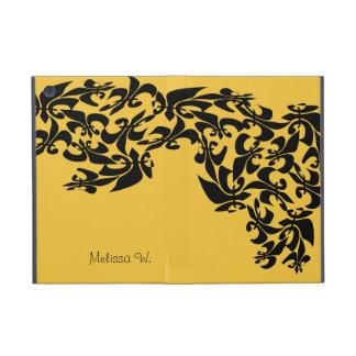 Damasco personalizado de la flor de lis del negro  iPad mini funda