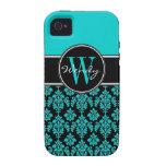 Damasco personalizado del vintage del negro azul d vibe iPhone 4 funda