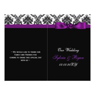 """damasco, programa púrpura del boda del doblez del  folleto 8.5"""" x 11"""""""