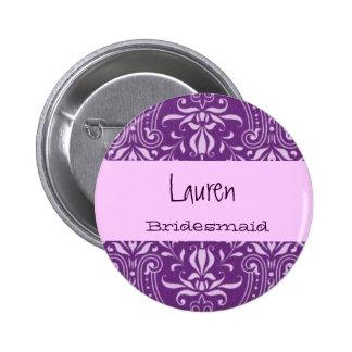 Damasco púrpura conocido de encargo S022 del botón Pin Redondo De 2 Pulgadas