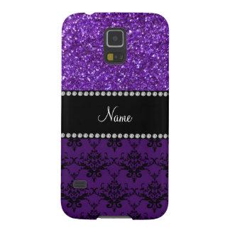 Damasco púrpura conocido personalizado del brillo funda para galaxy s5